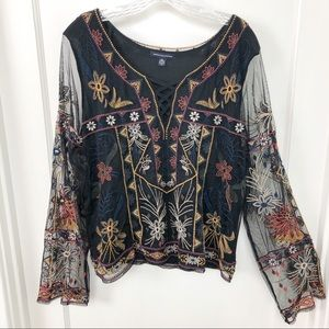 American Eagle Black Embroidered Blouse XXL